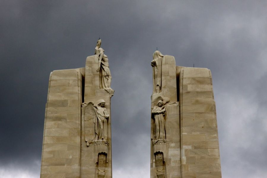Pediments at Canadian WW1 Memorial at Vimy Ridge, France The Cost Of Freedom WW 1 Canadian Military Monuments Architecture Sky Built Structure Cloud - Sky Low Angle View Nature No People Day Tower Building Building Exterior History
