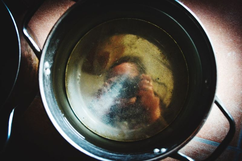 Stock Pot Selfie Laugh A Little Humor Close-up Indoors  Still Life Kitchen Utensil No People Household Equipment Directly Above Cooking Pan Wet
