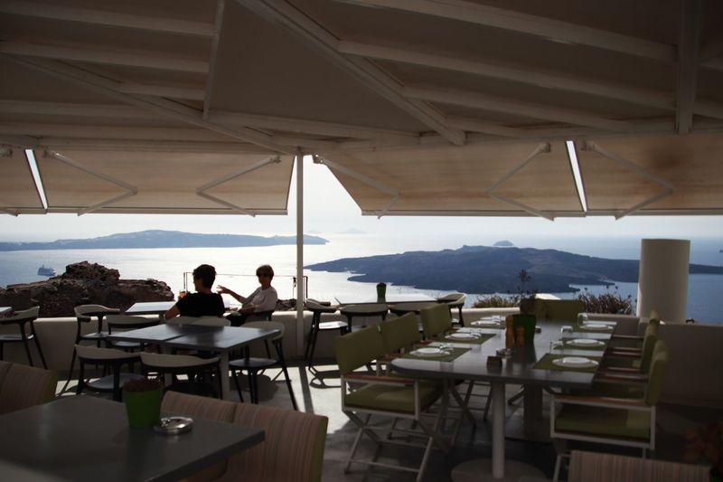 Tourist Thira(Fira) Santorini Idyllic Scenery Table Indoors  Water People Sitting Lifestyles