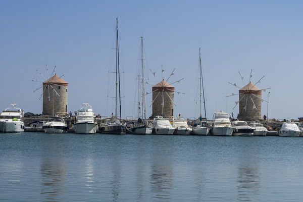 The French Windmills at Mandraki Harbour, Rhodes, Greece French Windmills Rhodes Greece Rhodes Harbour Rhodes Windmills Architecture Building Exterior Day Harbor Nautical Vessel No People Outdoors Sea Water Waterfront Windmill