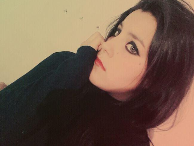 Hi Hello World Likeforlike Dark Photography Like4like Model Beautiful ♥ Red Lips Emo Girl Bored