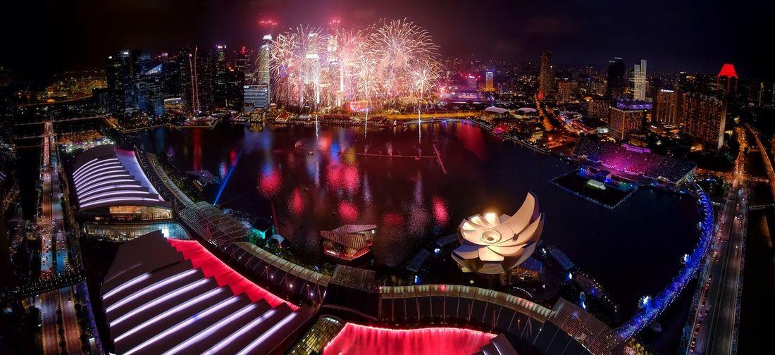 Fireworks Display At Marina Bay Sands