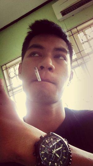 Morning loner. People Smoke Working