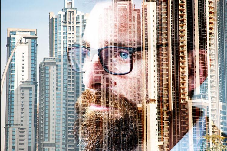 Portrait of modern buildings in city
