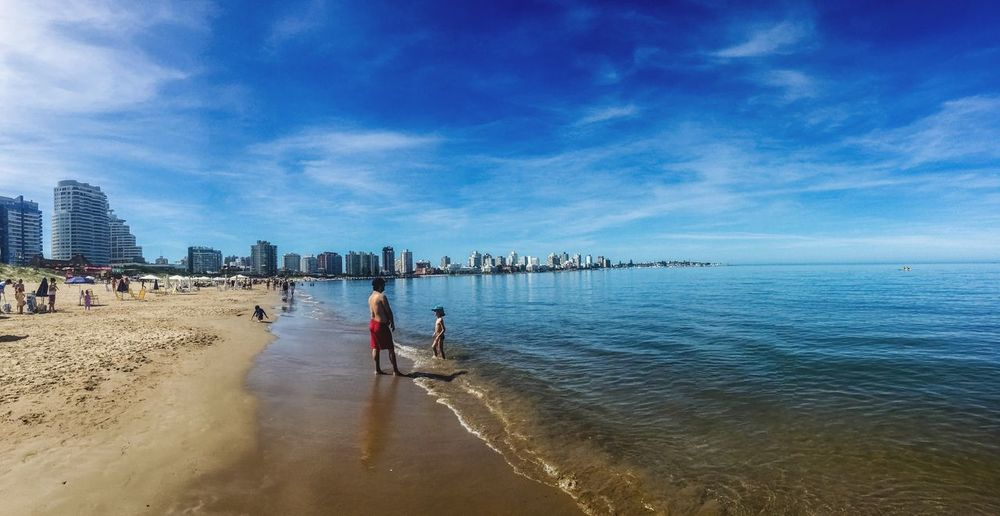 Sky Water Sea Nature Beach Architecture Built Structure Beauty In Nature Cloud - Sky Men Real People Outdoors Day Building Exterior Scenics Nautical Vessel Punta Del Este Uruguay Fresh On Eyeem  Eye4photography  Clear Sky EyeEm EyeEm Gallery Leisure Activity Beauty In Nature