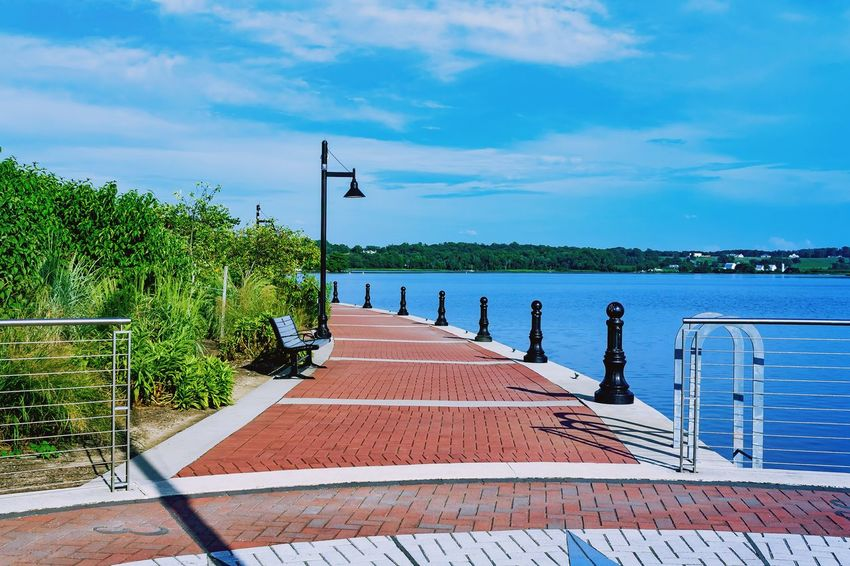 Hidden Gems  Leonardtown MD USA Red Brick Blue Water Water Water Reflections Water_collection Waterfront Bench Landscape Landscape_Collection Landscape_photography Waterscape Brick Lamppost Colour Of Life