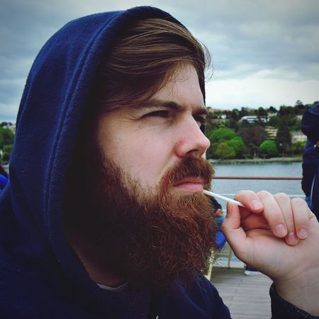 Sailer Boat Blue Storm Beard Young Adult Real People