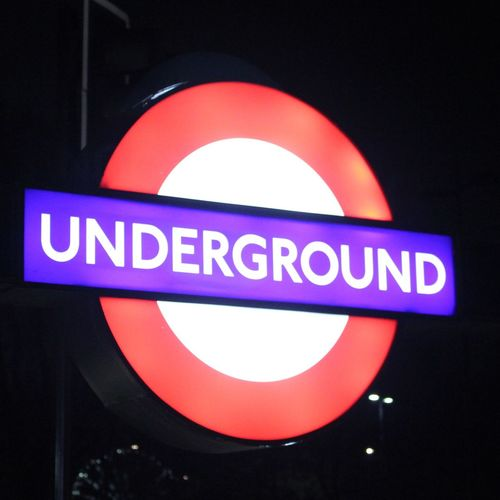 Underground sign. Sign LDN London Lifestyles Tube Underground London Underground Blue Red Black White City City Life Close-up No People Communication Light Direction