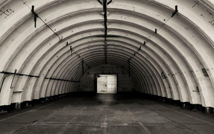 Airport Military Architecture Hangar Pütnitz Blackandwhite