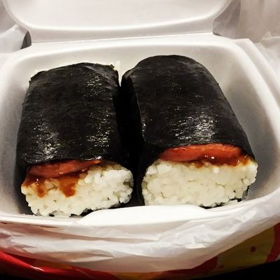 Got that good L&L Spam Musubi 😊 munching it before work Spammusubi  Behungry Nomnom Dinner forreal