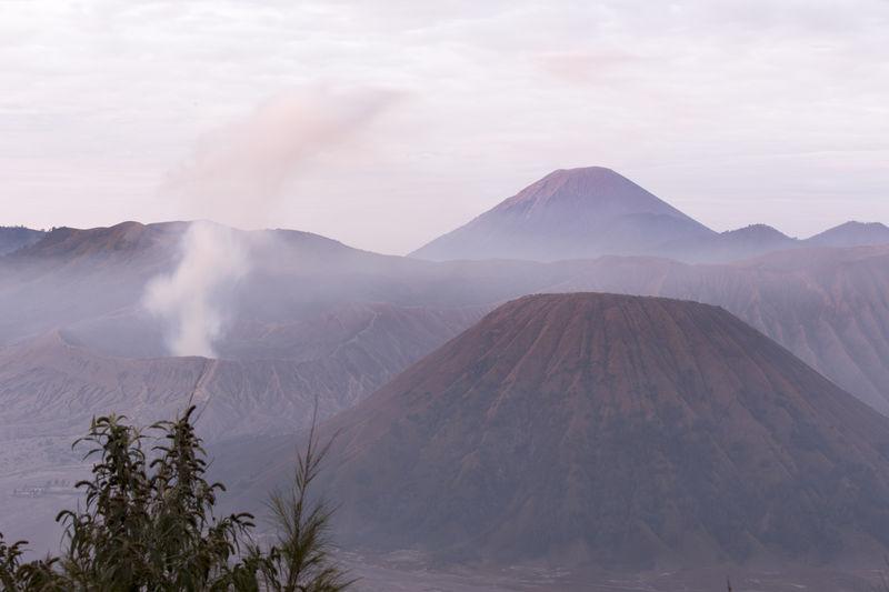View of volcanic mountain range