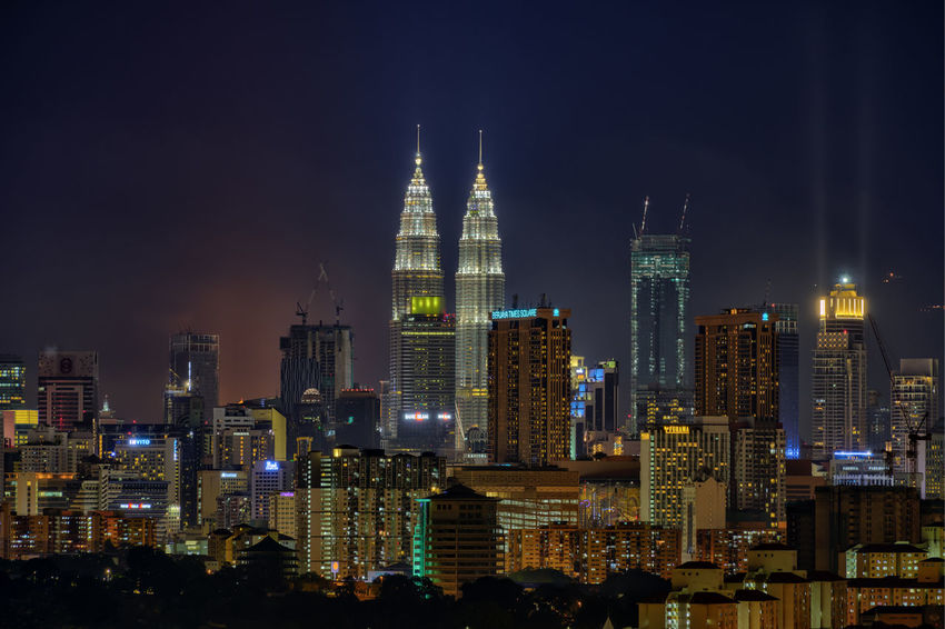 Kuala Lumpur Architecture Modern Sky Built Structure City night Cityscapes City Lights cityscape Lights skyscrapers Buildings Tower Cranes petronas twin towers CBD