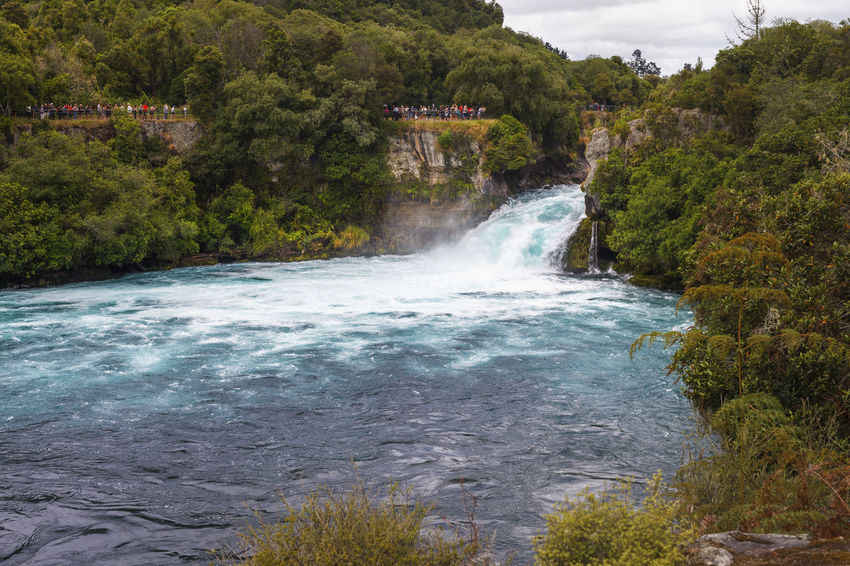 Panoramic view of Huka Falls, stream of water and jet nearby, New Zealand NZ New Zealand Scenery Beauty In Nature Day Environment Flowing Flowing Water Forest Growth Huka Falls Land Long Exposure Motion Nature New Zealand Newzealand No People Outdoors Plant Power In Nature River Scenics - Nature Tree Water Waterfall