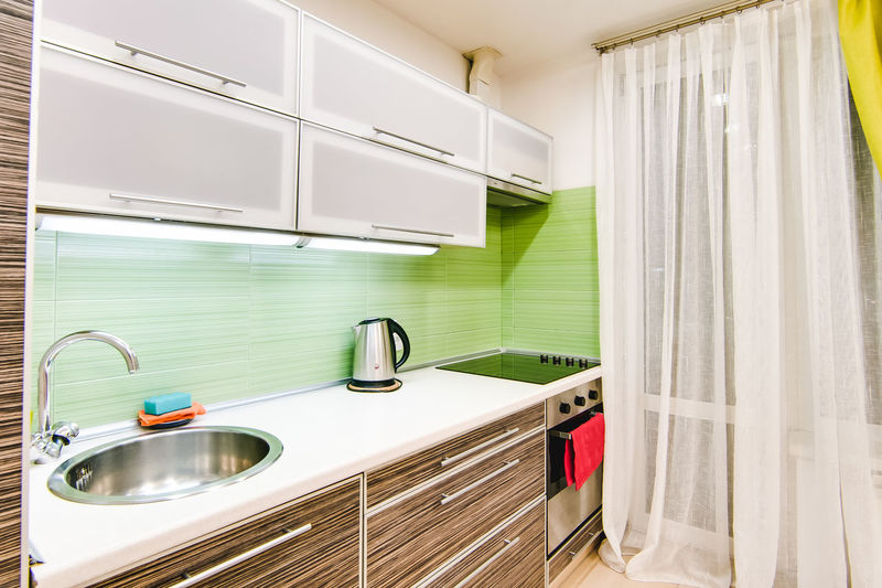 Domestic Room Home Sink Household Equipment Faucet Indoors  Home Interior Domestic Kitchen Kitchen No People White Color Modern Metal Furniture Home Showcase Interior Mirror Curtain Reflection Absence Window Cabinet Luxury Steel Clean Apartment