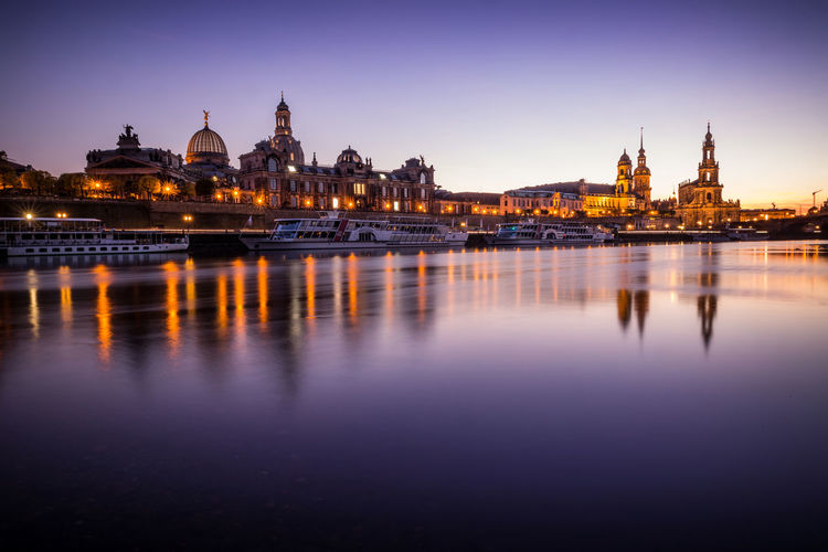 Architecture Building Exterior Cityscape Dresden Elbe Engineering Famous Place Frauenkirche Horizontal Symmetry Outdoors River Symmetry Tourism Water Waterfront