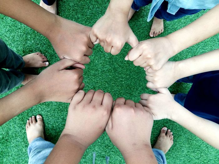 togetherness Concept Playing Teamwork Siblings Relationship Leisure Activity Lifestyle Cooperation SUPPORT Group Love Friends Human Body Part Togetherness Friendship High Angle View Green Color Bonding Unity Human Hand Cooperation People Day Child Teamwork Outdoors Grass Group Of People Children Only