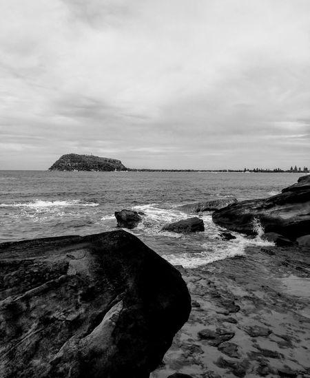 b/w rocky beach