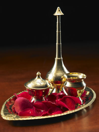 holly water Container Diwali Holly Indian Culture  Rose Petals Spirituality Tradition Believe Celebration Deepavali  Golden Tray Holly Water No People Offering Praying Traditional Water