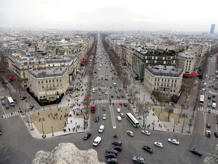 Arc De Triomphe Building Exterior Capital Cities  Champs Elysees City Life City Street Cityscape Landscape Road Sky Tourist Spot