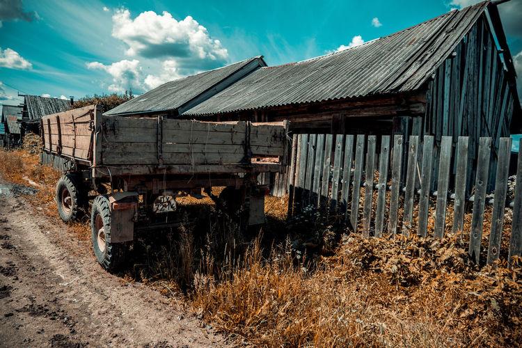 Abandoned house on land
