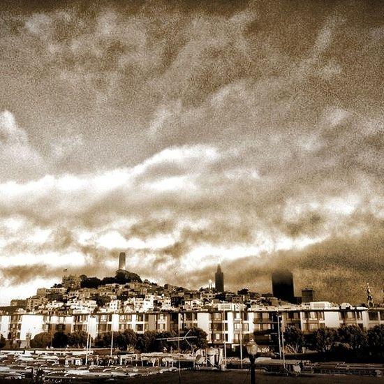 I see London I see France I see @karlthefog Hanging over San Fran SF Coittower Fishermanswharf