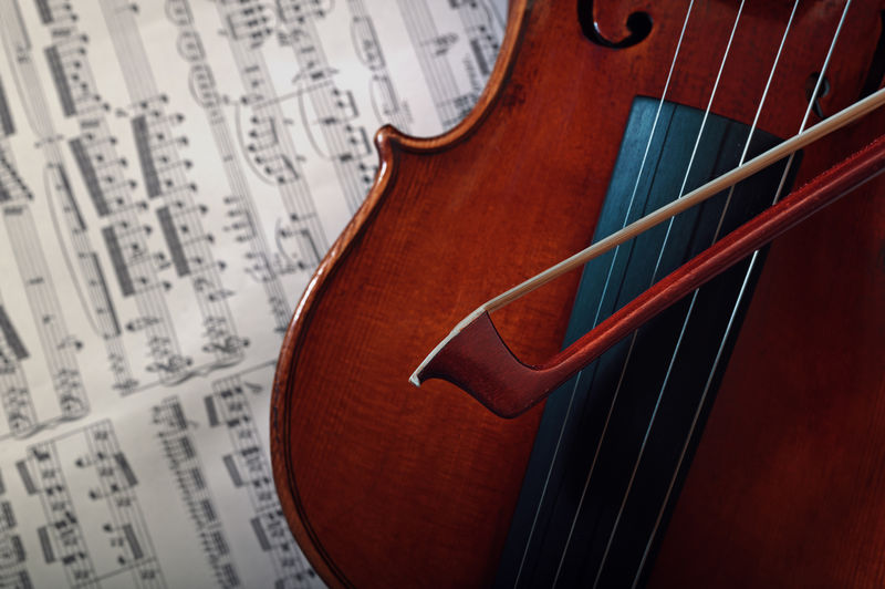 High Angle Close-Up Of Violin On Sheet Music