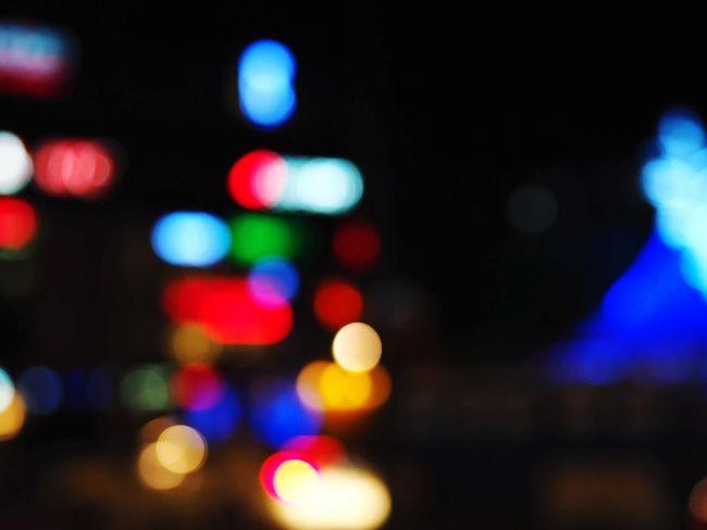 Nightphotography Blurry On Purpose Bokeh Artificial Light Colors Illuminated Defocused City Multi Colored Lighting Equipment Nightlife Close-up Electric Light