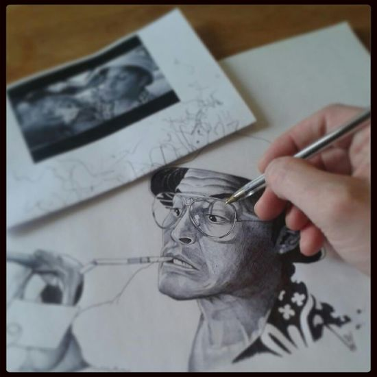 Enjoying Life Portrait Art Awesome Hunter s Thompson Johnny Depp Biro sketch