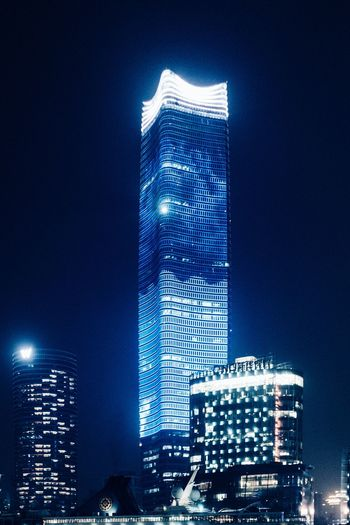 Big Screen... Architecture_collection Cityscape Architecture Built Structure Building Exterior Night City Illuminated Office Building Exterior Tall - High Building Skyscraper Modern Travel Destinations Low Angle View No People Travel Outdoors Tower