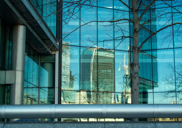 Walkie talkie building, 20 fenchurch street, reflected in opposite tower block, london