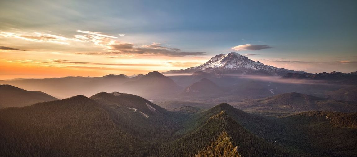Idyllic shot of mt rainier against sky during sunset