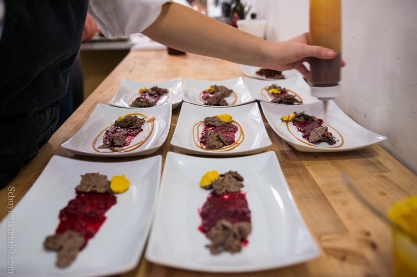 Dinner Homemade Once In A Lifetime Shallow Depth Of Field Alex Garfinkel Caterer Close-up Dinner Table Food Food And Drink Garnish Gourmet Guests Human Hand In The Kitchen Indulgence Kitchen Personal Chef Plating Plating Food Private Chef Private Dining Private Dining Event Temptation