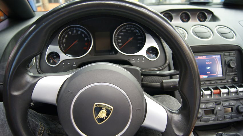 Car Dashboard Fast Cars Lamborghini Mode Of Transport No People Part Of Steringwheel Vehicle Part