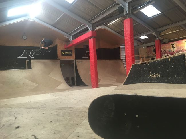Ramps Skate Park Indoors  Sunlight Illuminated Built Structure Architecture No People Parking Garage Day bmx jump