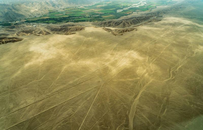 High angle view of sand dunes