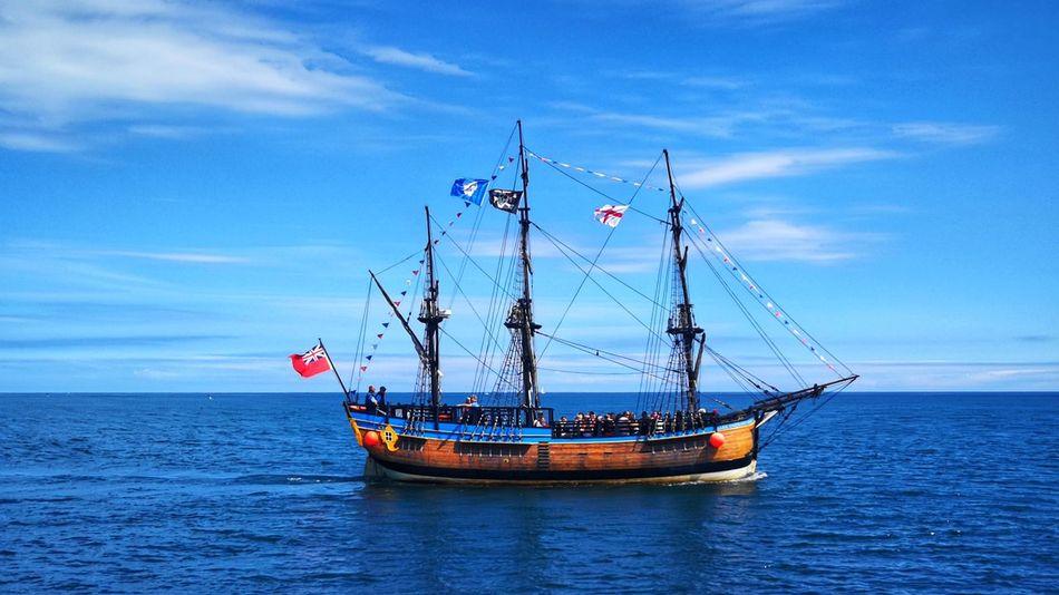 North Sea Coast Jolly Roger Pirates P10 Plus Photography Tall Ship Nautical Vessel Water Sea Sailing Ship Patriotism Blue Mast Flag Sky Horizon Over Water Seascape