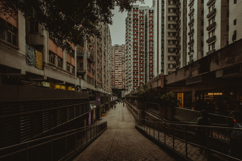 hongkong street Architecture Building Exterior Built Structure City Building Tree Railing Transportation Residential District Street Nature Outdoors Footpath Incidental People Plant City Life Direction Sidewalk Mode Of Transportation HongKong