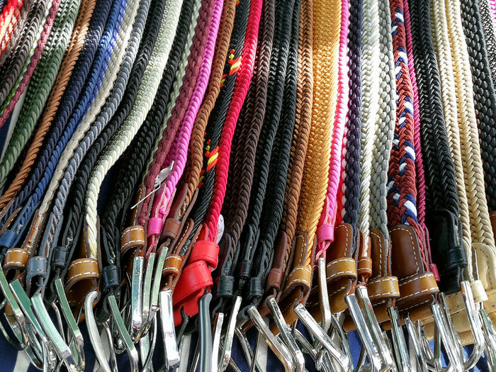 Belts collection Multi Colored Backgrounds Full Frame Choice Retail  Variation Textile For Sale Close-up Fabric Shop Colorful Market Collection