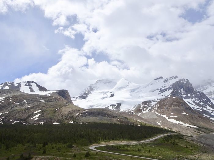 Columbia Icefields Parkway Glacier Mountain Sky Environment Beauty In Nature Landscape Snow Cloud - Sky Mountain Range No People Winter Cold Temperature Scenics - Nature Beauty In Nature Snowcapped Mountain Tranquility Outdoors Nature Beauty In Nature