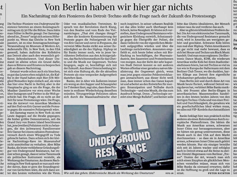 Underground Resistance Süddeutsche Zeitung My Fuckin Berlin is not doing the trick here