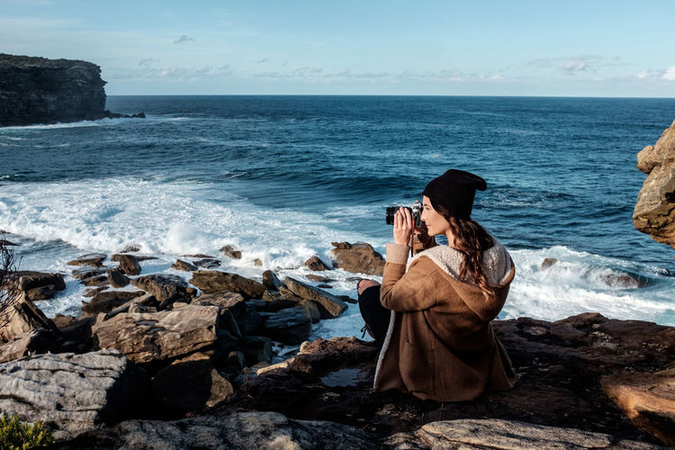 Australia Beanie Beautiful Blue Blue Sky Camera Coast Coastline Girl Hair Hipster Horizon Jacket National Park New South Wales  Ocean Photographer Rocks Rocks And Water Shore Sydney Traveling Wattamolla Waves Woman Lost In The Landscape
