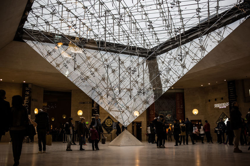 LourveMuseum Paris Architecture Built Structure Day Illuminated Indoors  Large Group Of People Lifestyles Men People Real People Women