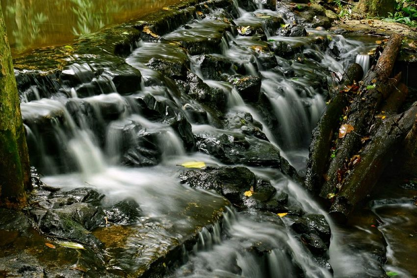 Motion Waterfall Water Long Exposure Blurred Motion No People Nature Beauty In Nature Scenics Outdoors Moss Day Forest Freshness