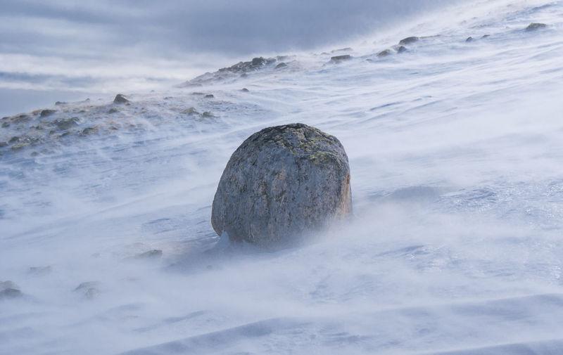Rock on snowcapped landscape