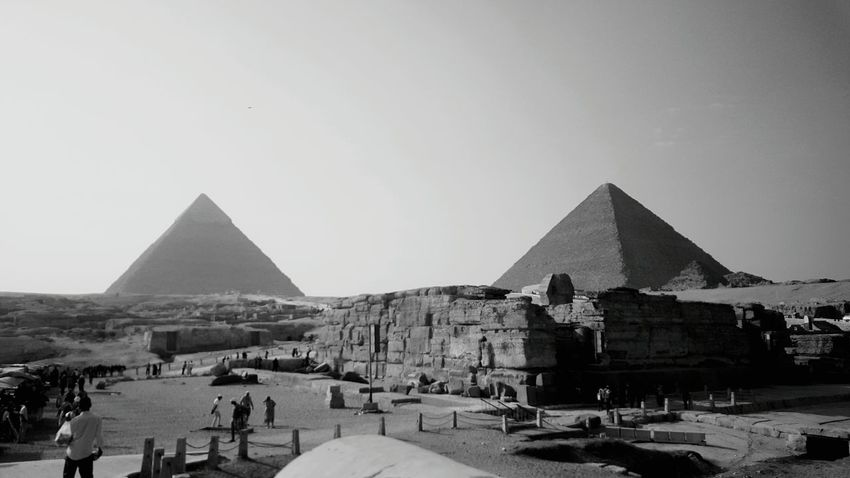 Eygpt Pyrimids Giza, Caïro, Egypt Taking Photos Enjoying Life History Old Classic Sahara Desert Black And White