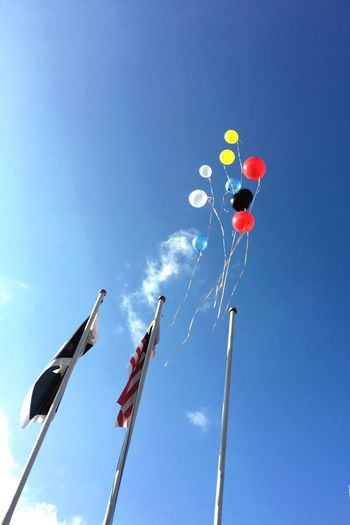 Flag Low Angle View Patriotism Sky Day Blue Outdoors No People Celebration Balloon Clear Sky