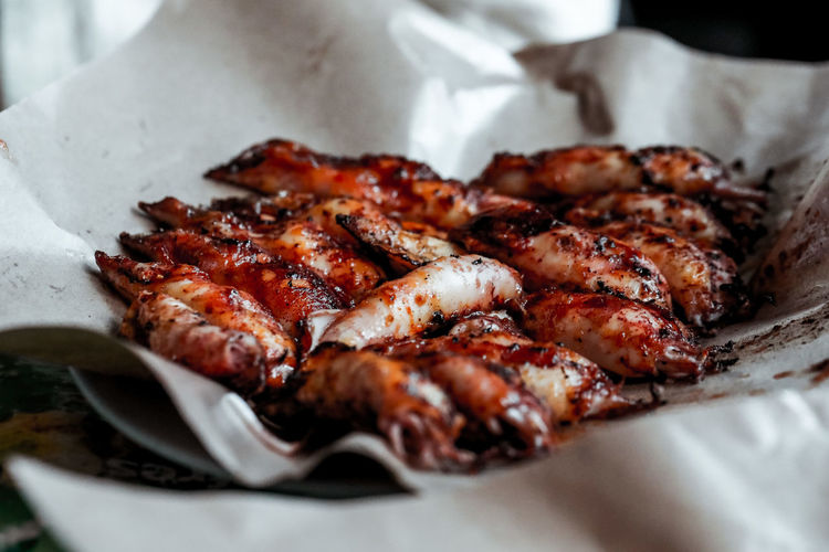 Close-up of octopus bbq in plate