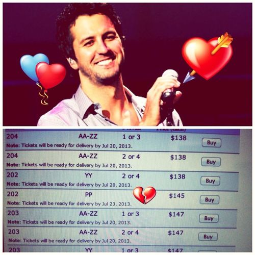 Decent ticket prices at Phoenix when it's in July. Why do you have to be so expensive how come I couldn't find you earlier. Ahh Luke Bryan