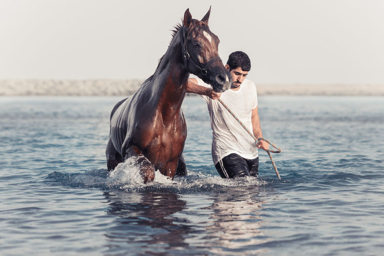 Man With Horse In Sea Against Sky
