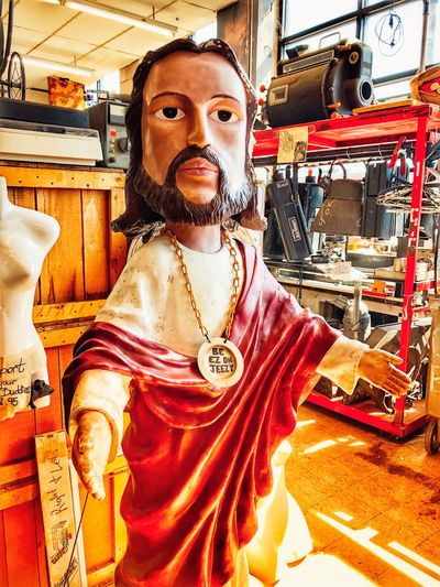 Be EZ on JEEZY Retro Art Retro Styled Retro Jesus Statue One Person Looking At Camera Portrait Lifestyles Front View Indoors